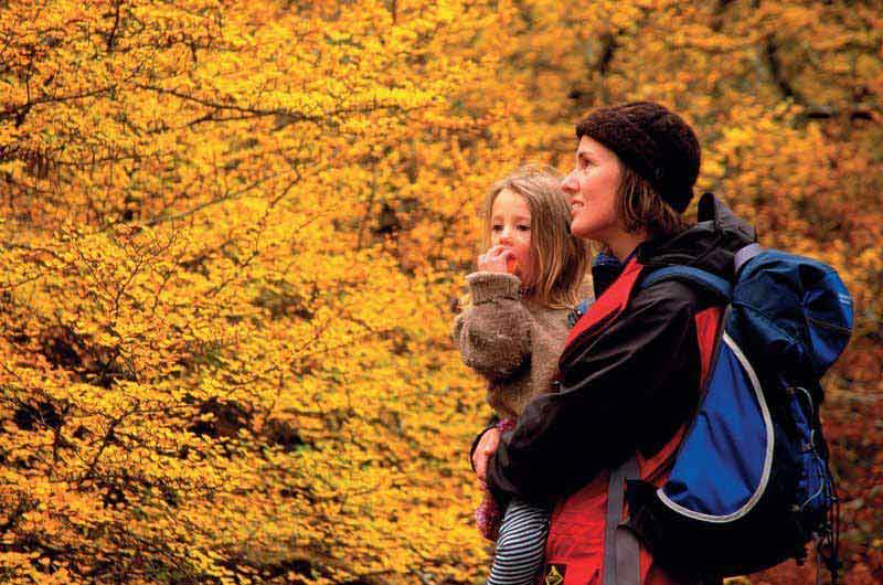 autumn in tasmania with woman and child